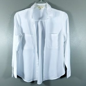 Cloth & Stone Womens Medium White Button Front Top